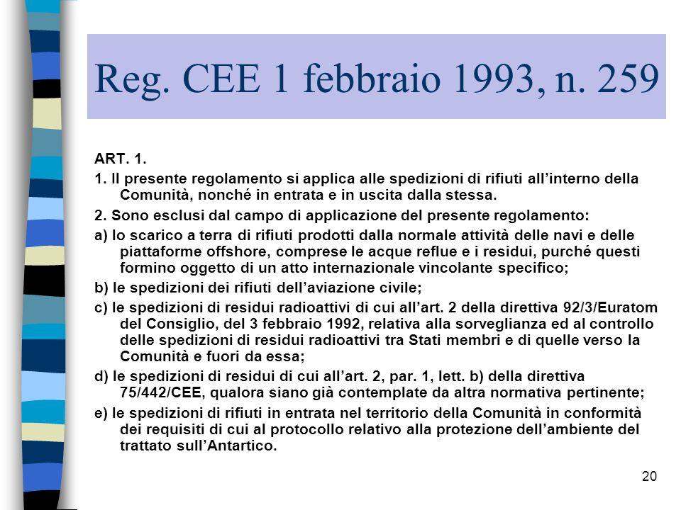 20 Reg. CEE 1 febbraio 1993, n. 259 ART. 1. 1. Il presente regolamento si applica alle spedizioni di rifiuti allinterno della Comunità, nonché in entr