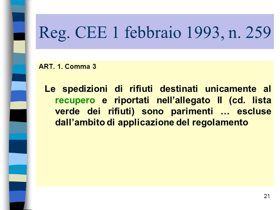 21 Reg. CEE 1 febbraio 1993, n. 259 ART. 1. Comma 3 Le spedizioni di rifiuti destinati unicamente al recupero e riportati nellallegato II (cd. lista v