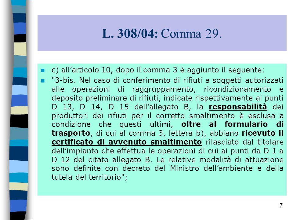 7 L. 308/04: Comma 29. c) allarticolo 10, dopo il comma 3 è aggiunto il seguente: