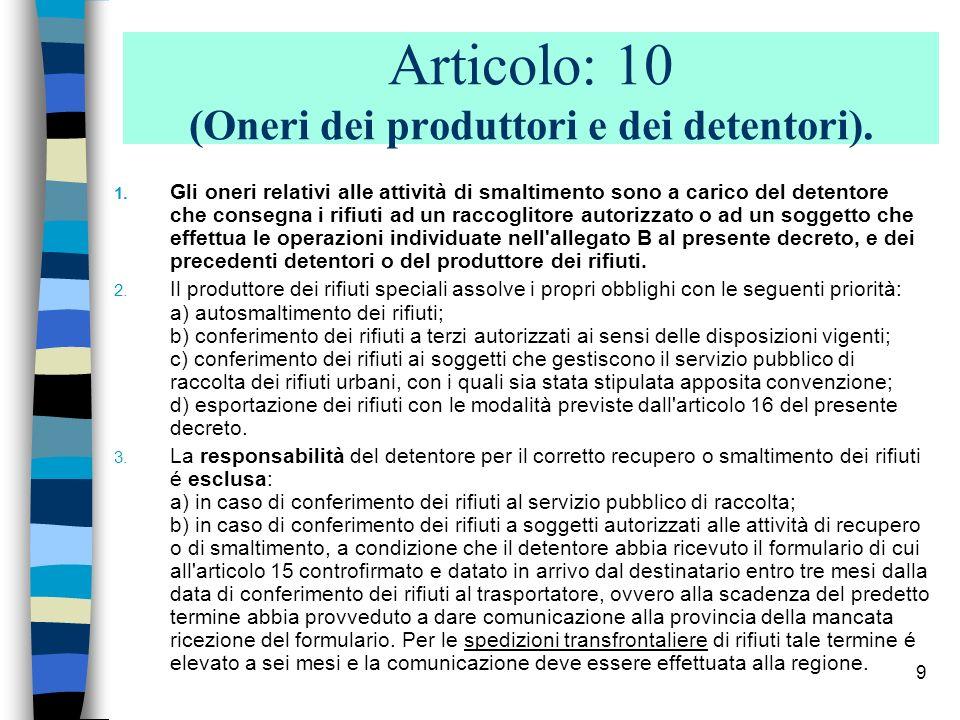 9 Articolo: 10 (Oneri dei produttori e dei detentori). 1. Gli oneri relativi alle attività di smaltimento sono a carico del detentore che consegna i r