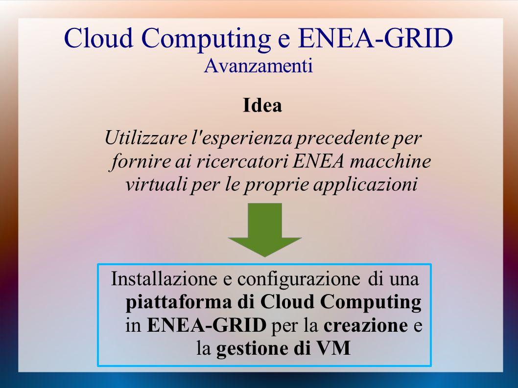 Cloud Computing e ENEA-GRID Avanzamenti Idea Utilizzare l esperienza precedente per fornire ai ricercatori ENEA macchine virtuali per le proprie applicazioni Installazione e configurazione di una piattaforma di Cloud Computing in ENEA-GRID per la creazione e la gestione di VM