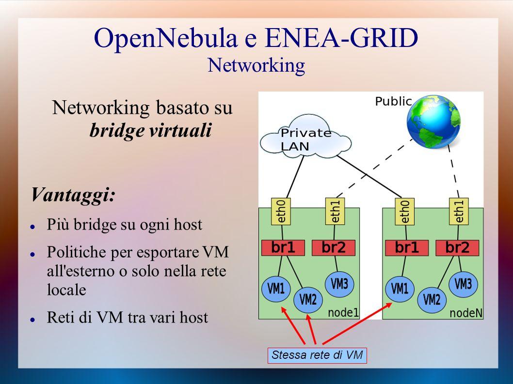 OpenNebula e ENEA-GRID Networking Networking basato su bridge virtuali Vantaggi: Più bridge su ogni host Politiche per esportare VM all esterno o solo nella rete locale Reti di VM tra vari host Stessa rete di VM