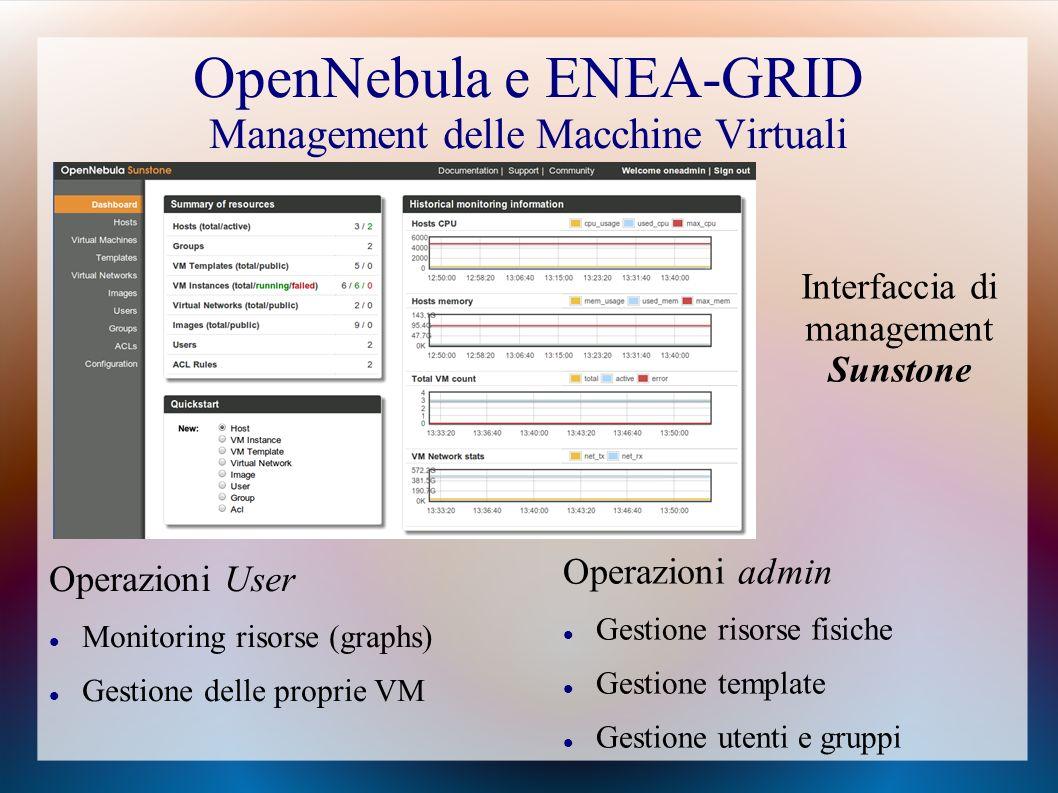 OpenNebula e ENEA-GRID Management delle Macchine Virtuali Operazioni User Monitoring risorse (graphs) Gestione delle proprie VM Operazioni admin Gestione risorse fisiche Gestione template Gestione utenti e gruppi Interfaccia di management Sunstone