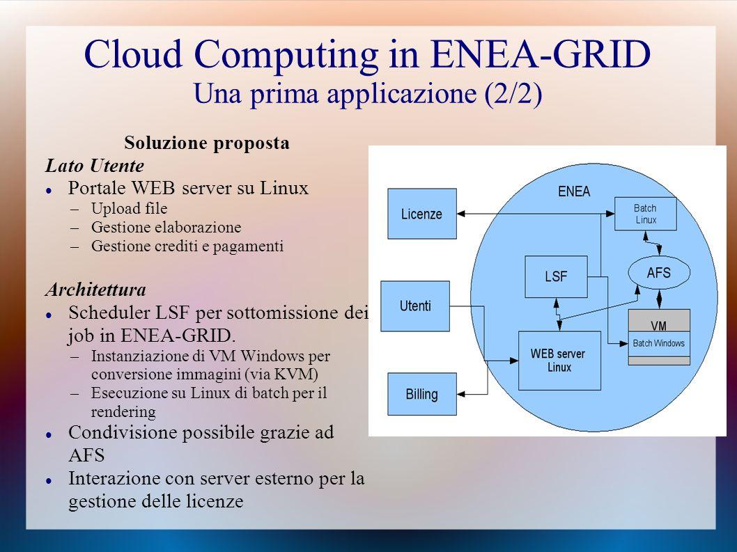 Cloud Computing in ENEA-GRID Una prima applicazione (2/2) Soluzione proposta Lato Utente Portale WEB server su Linux –Upload file –Gestione elaborazione –Gestione crediti e pagamenti Architettura Scheduler LSF per sottomissione dei job in ENEA-GRID.