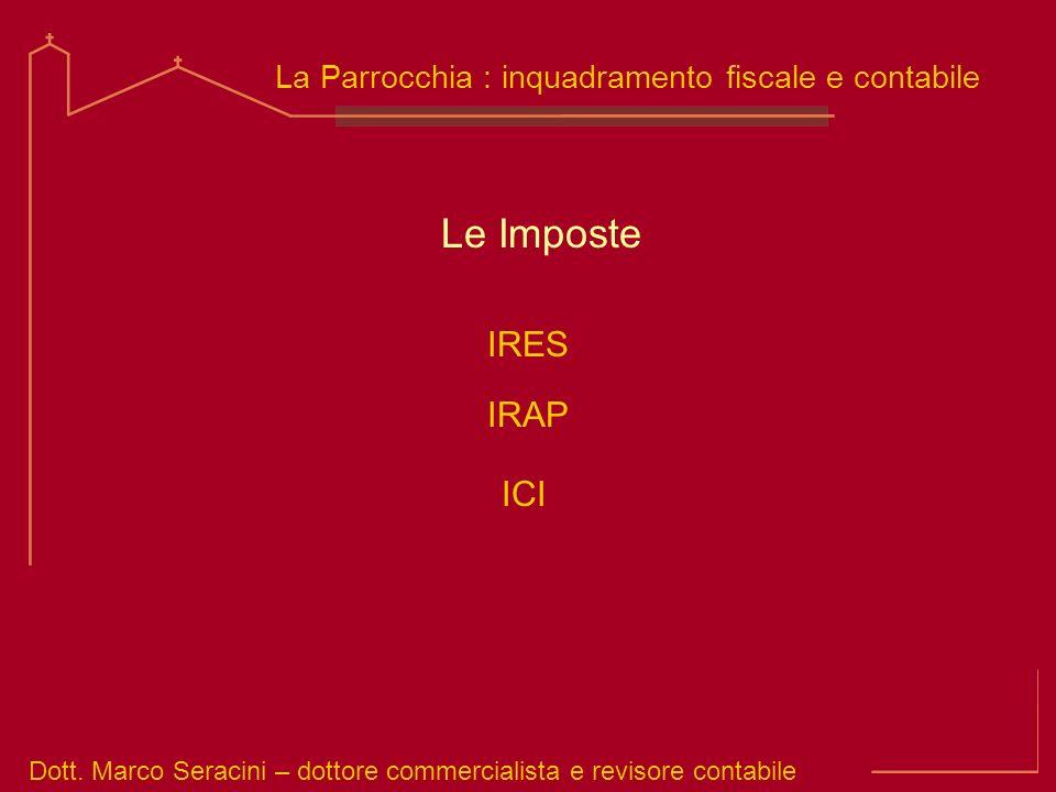 Dott. Marco Seracini – dottore commercialista e revisore contabile La Parrocchia : inquadramento fiscale e contabile Le Imposte IRES IRAP ICI