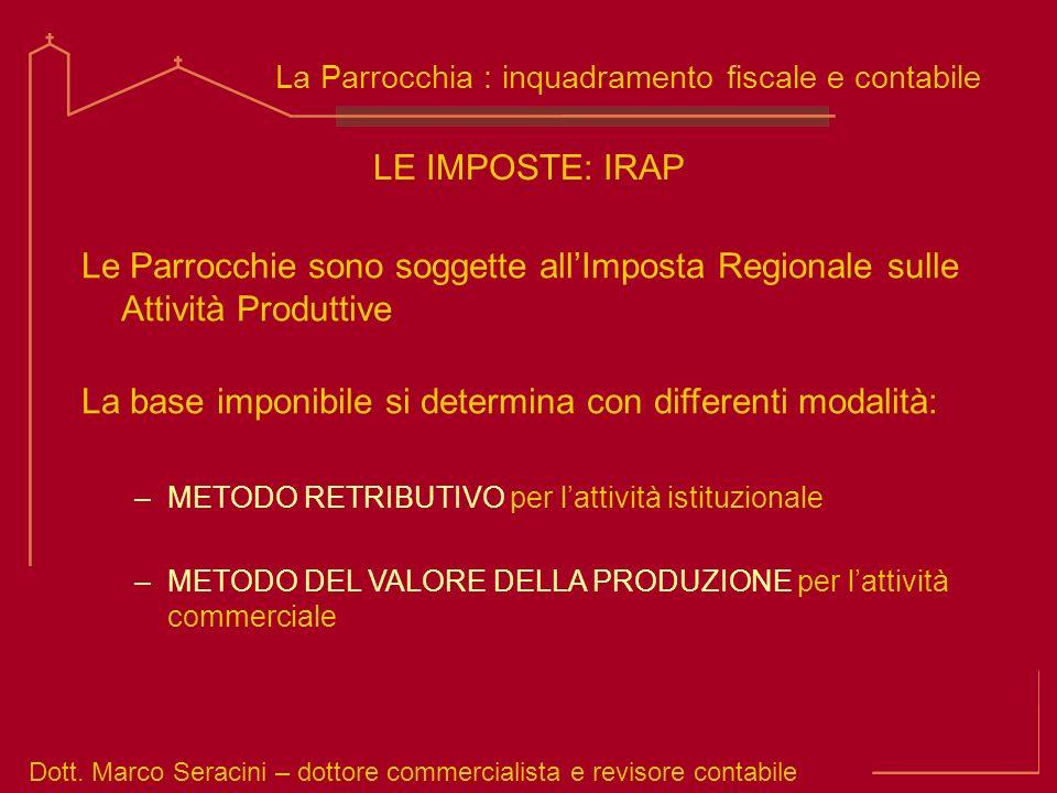 Dott. Marco Seracini – dottore commercialista e revisore contabile La Parrocchia : inquadramento fiscale e contabile LE IMPOSTE: IRAP Le Parrocchie so