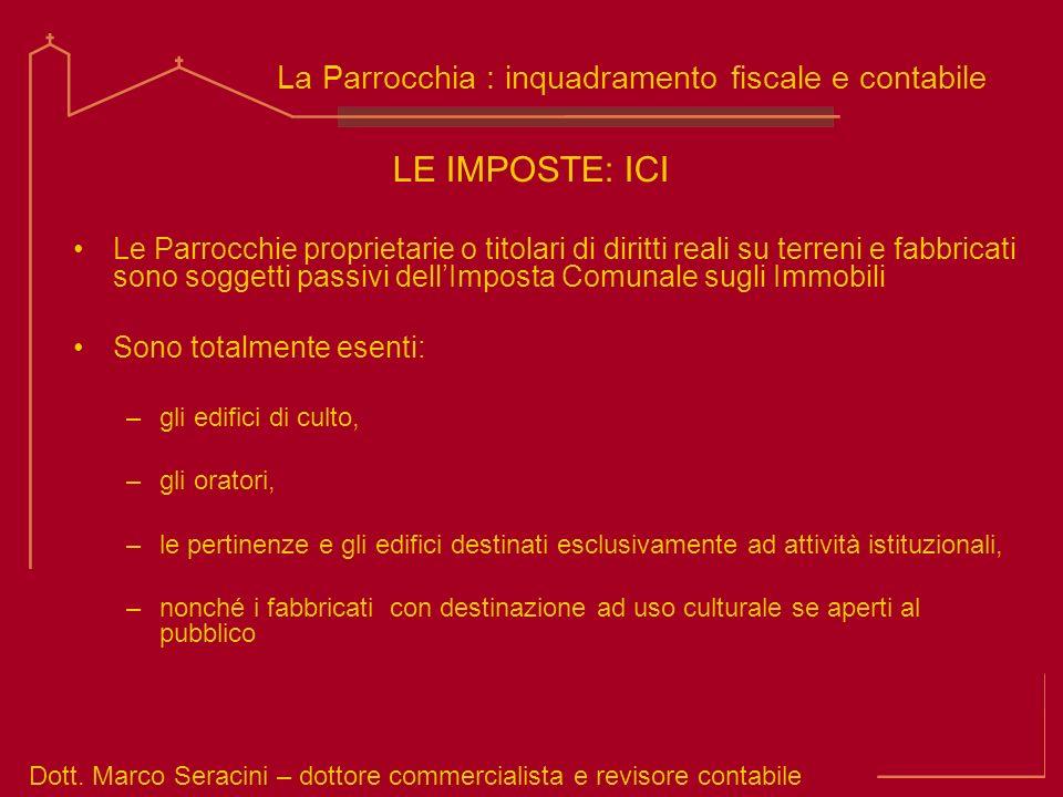 Dott. Marco Seracini – dottore commercialista e revisore contabile La Parrocchia : inquadramento fiscale e contabile LE IMPOSTE: ICI Le Parrocchie pro