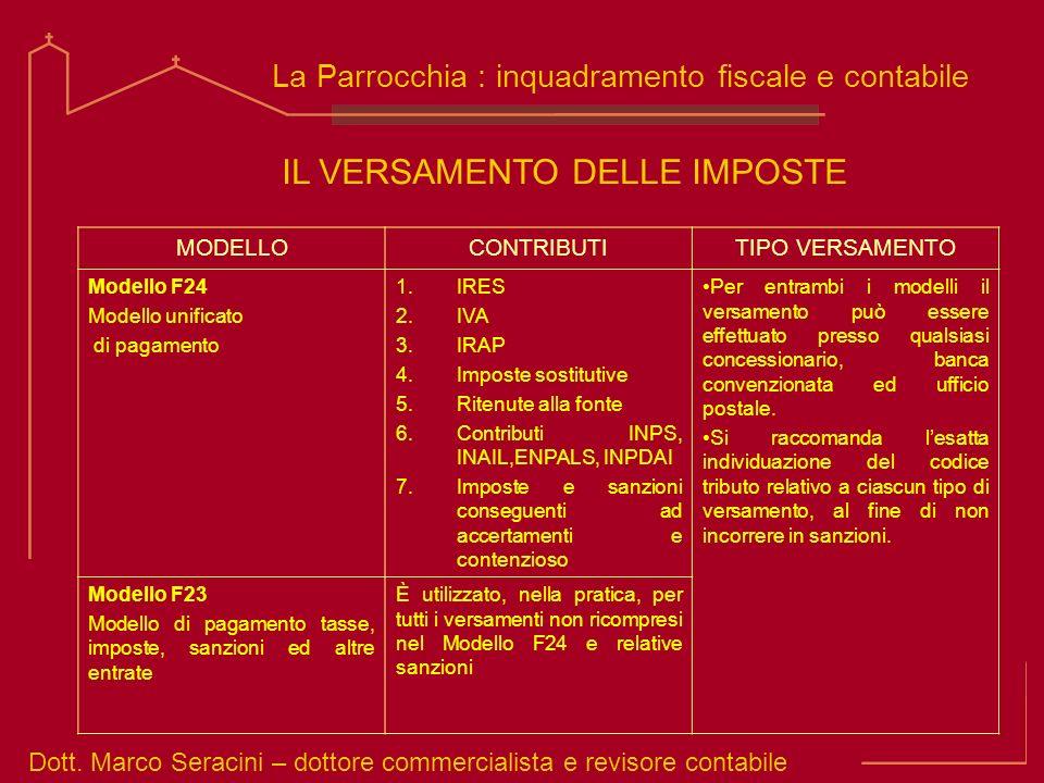 Dott. Marco Seracini – dottore commercialista e revisore contabile La Parrocchia : inquadramento fiscale e contabile IL VERSAMENTO DELLE IMPOSTE MODEL