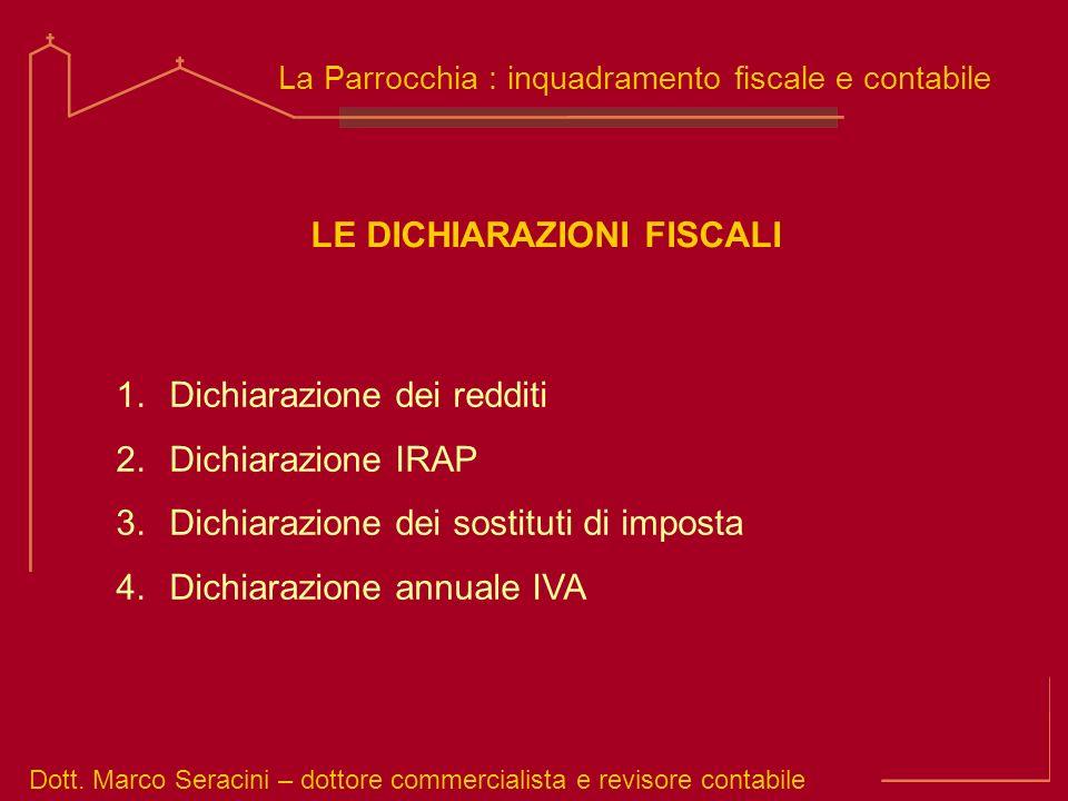 Dott. Marco Seracini – dottore commercialista e revisore contabile La Parrocchia : inquadramento fiscale e contabile 1.Dichiarazione dei redditi 2.Dic