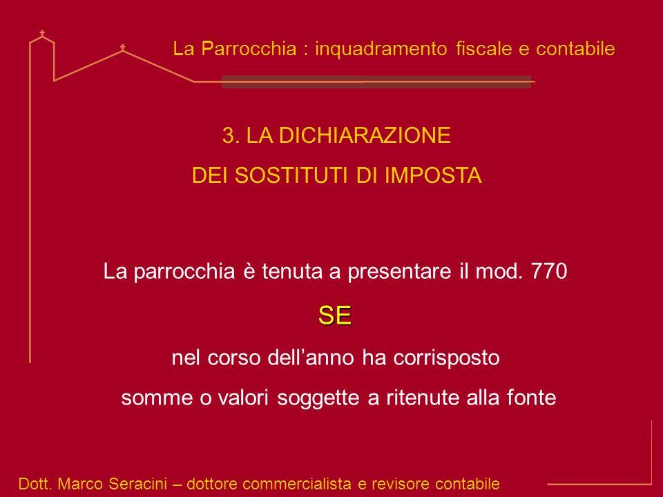 Dott. Marco Seracini – dottore commercialista e revisore contabile La Parrocchia : inquadramento fiscale e contabile La parrocchia è tenuta a presenta