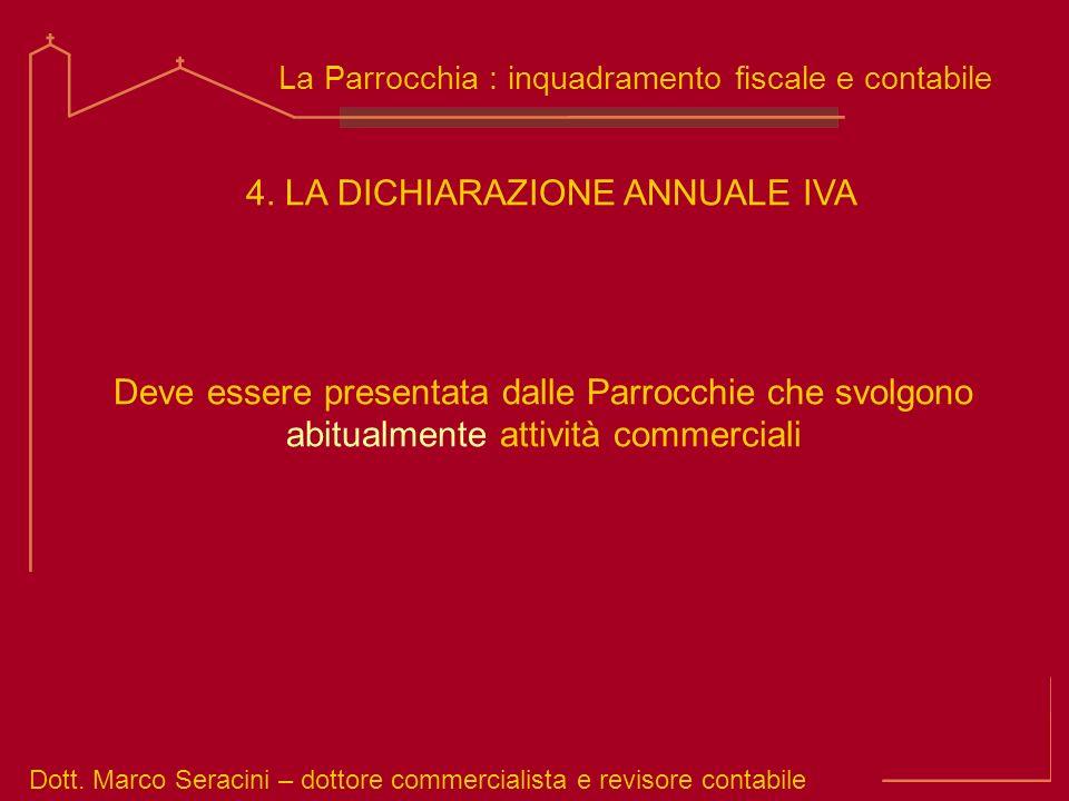 Dott. Marco Seracini – dottore commercialista e revisore contabile La Parrocchia : inquadramento fiscale e contabile Deve essere presentata dalle Parr