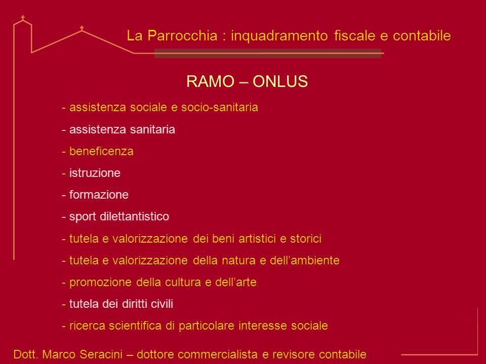 Dott. Marco Seracini – dottore commercialista e revisore contabile La Parrocchia : inquadramento fiscale e contabile - assistenza sociale e socio-sani
