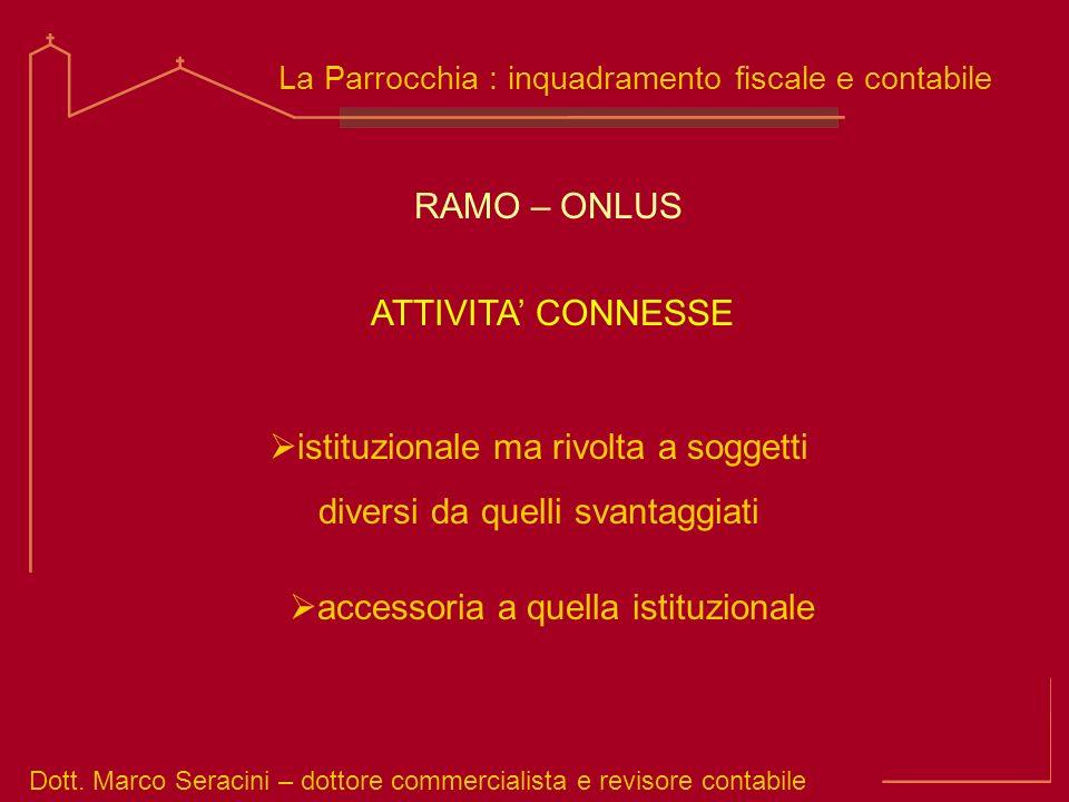 Dott. Marco Seracini – dottore commercialista e revisore contabile La Parrocchia : inquadramento fiscale e contabile istituzionale ma rivolta a sogget