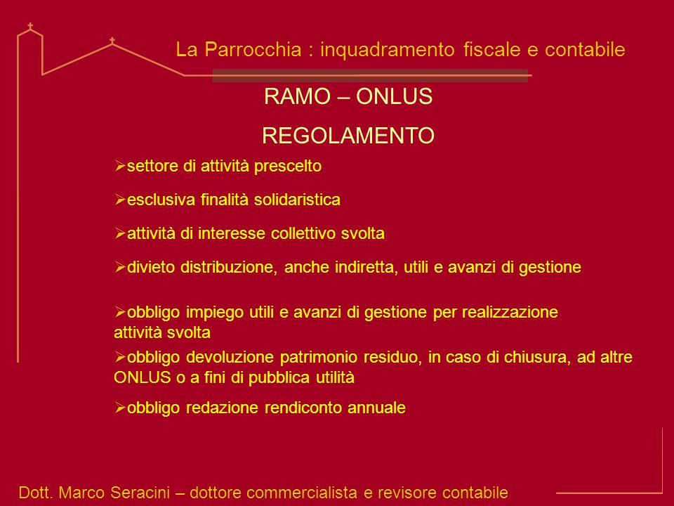 Dott. Marco Seracini – dottore commercialista e revisore contabile La Parrocchia : inquadramento fiscale e contabile settore di attività prescelto RAM