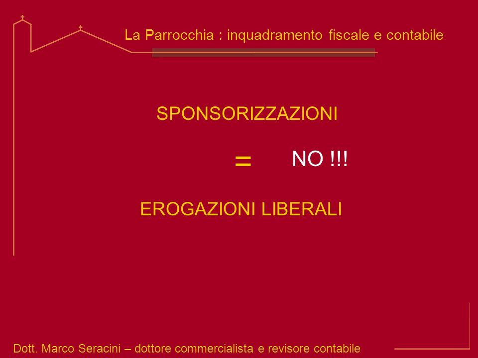 Dott. Marco Seracini – dottore commercialista e revisore contabile La Parrocchia : inquadramento fiscale e contabile SPONSORIZZAZIONI NO !!! EROGAZION