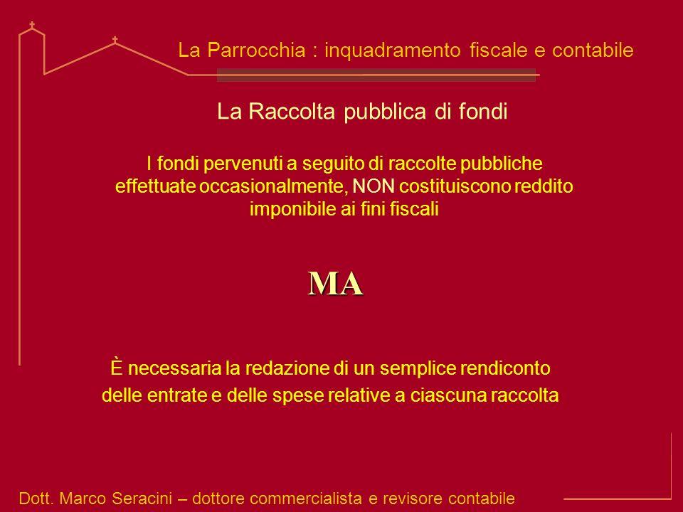 Dott. Marco Seracini – dottore commercialista e revisore contabile La Parrocchia : inquadramento fiscale e contabile La Raccolta pubblica di fondi È n