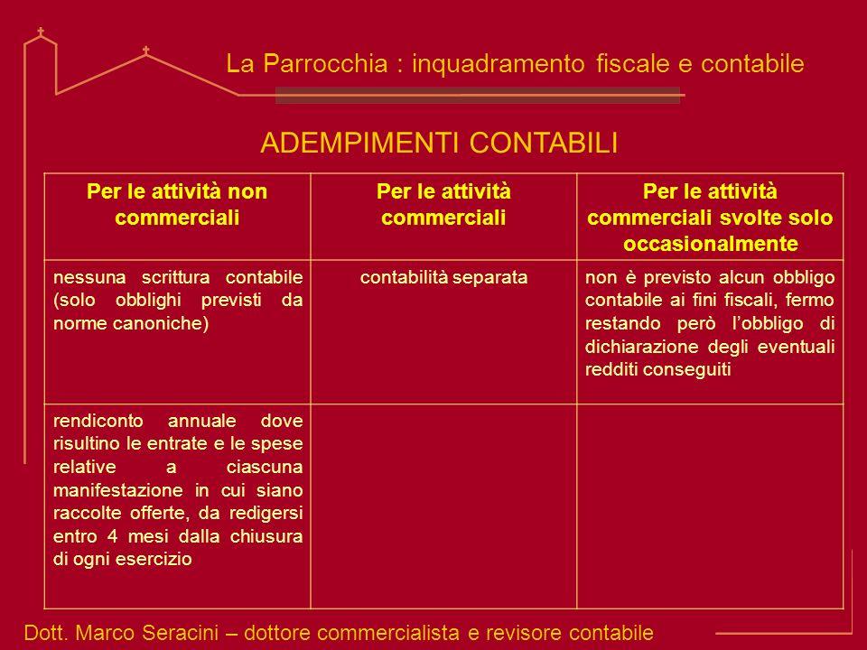 Dott. Marco Seracini – dottore commercialista e revisore contabile La Parrocchia : inquadramento fiscale e contabile ADEMPIMENTI CONTABILI Per le atti