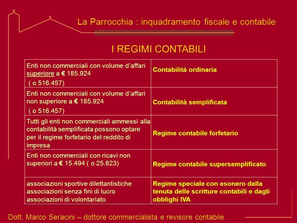 Dott. Marco Seracini – dottore commercialista e revisore contabile La Parrocchia : inquadramento fiscale e contabile I REGIMI CONTABILI Enti non comme