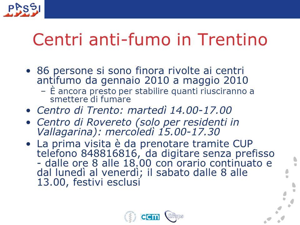 Centri anti-fumo in Trentino 86 persone si sono finora rivolte ai centri antifumo da gennaio 2010 a maggio 2010 –È ancora presto per stabilire quanti