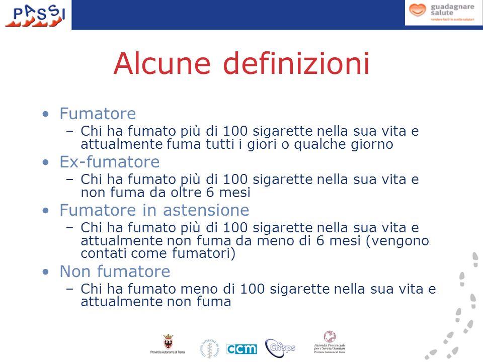 Alcune definizioni Fumatore –Chi ha fumato più di 100 sigarette nella sua vita e attualmente fuma tutti i giori o qualche giorno Ex-fumatore –Chi ha f