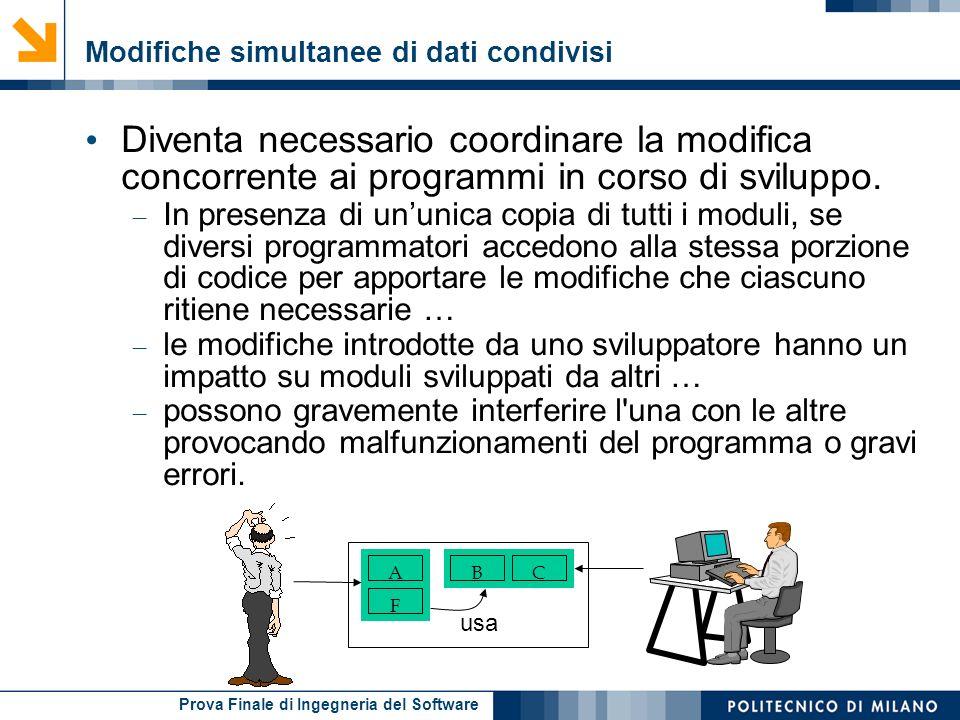 Prova Finale di Ingegneria del Software Modifiche simultanee di dati condivisi Diventa necessario coordinare la modifica concorrente ai programmi in c