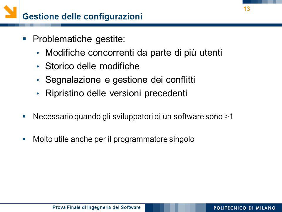 Prova Finale di Ingegneria del Software Gestione delle configurazioni Problematiche gestite: Modifiche concorrenti da parte di più utenti Storico dell