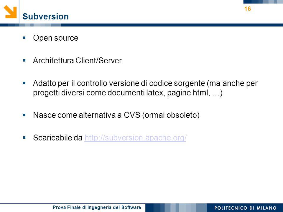 Prova Finale di Ingegneria del Software Subversion Open source Architettura Client/Server Adatto per il controllo versione di codice sorgente (ma anch