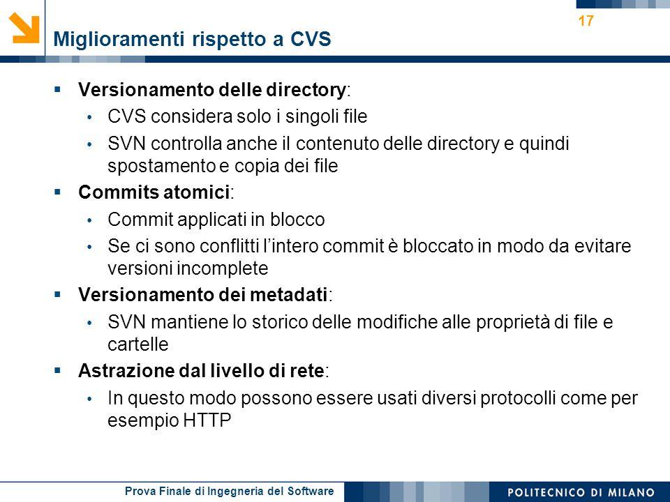 Prova Finale di Ingegneria del Software Miglioramenti rispetto a CVS Versionamento delle directory: CVS considera solo i singoli file SVN controlla an