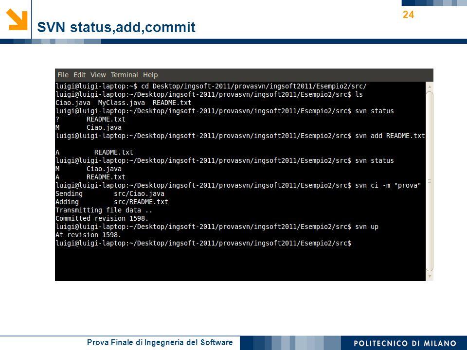 Prova Finale di Ingegneria del Software SVN status,add,commit 24