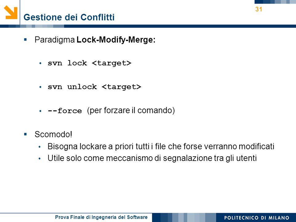 Prova Finale di Ingegneria del Software Gestione dei Conflitti Paradigma Lock-Modify-Merge: svn lock svn unlock --force (per forzare il comando) Scomo
