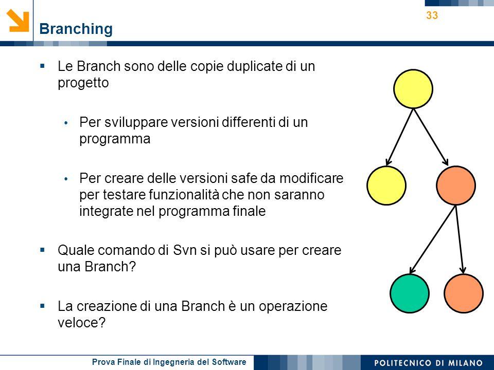 Prova Finale di Ingegneria del Software Branching Le Branch sono delle copie duplicate di un progetto Per sviluppare versioni differenti di un program