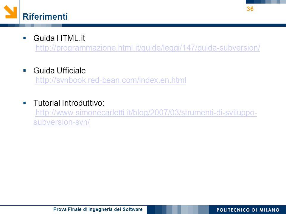 Prova Finale di Ingegneria del Software Riferimenti Guida HTML.it http://programmazione.html.it/guide/leggi/147/guida-subversion/http://programmazione