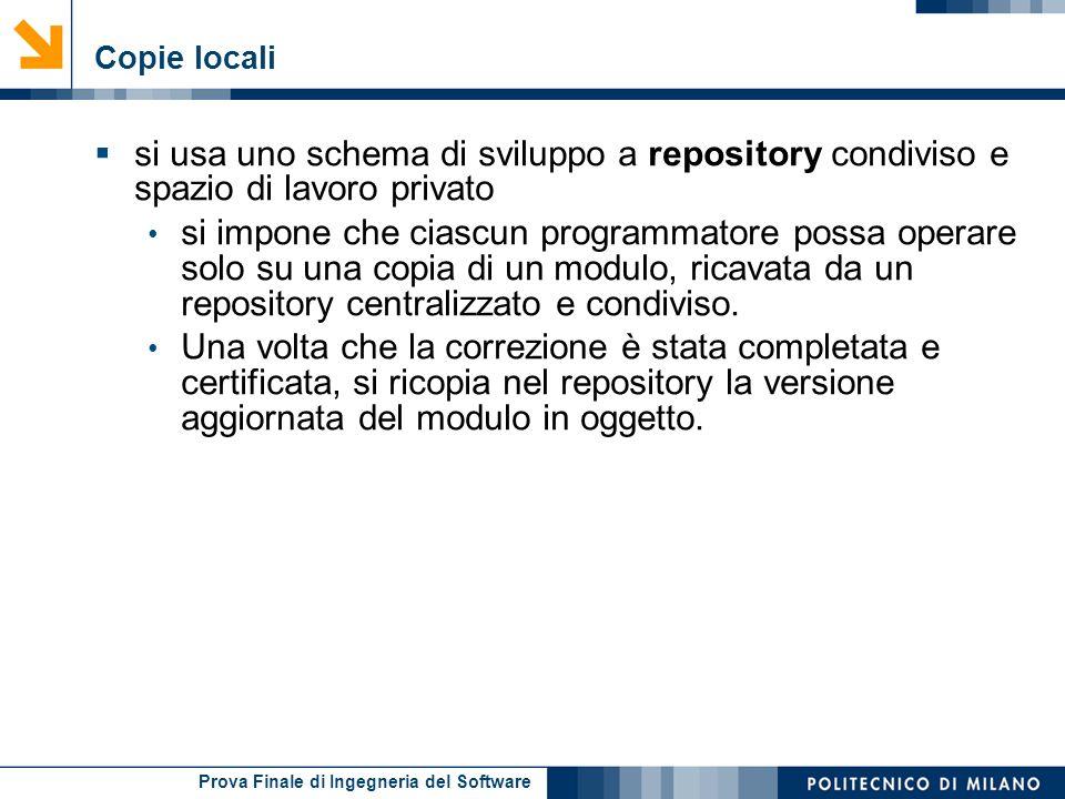 Prova Finale di Ingegneria del Software Copie locali si usa uno schema di sviluppo a repository condiviso e spazio di lavoro privato si impone che cia