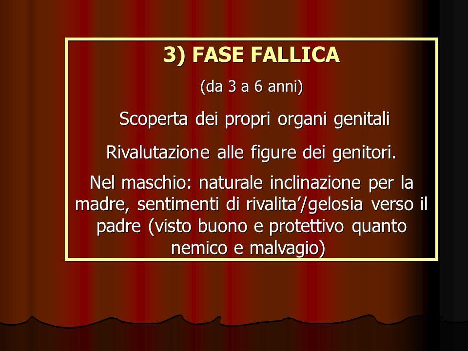 3) FASE FALLICA (da 3 a 6 anni) Scoperta dei propri organi genitali Rivalutazione alle figure dei genitori. Nel maschio: naturale inclinazione per la