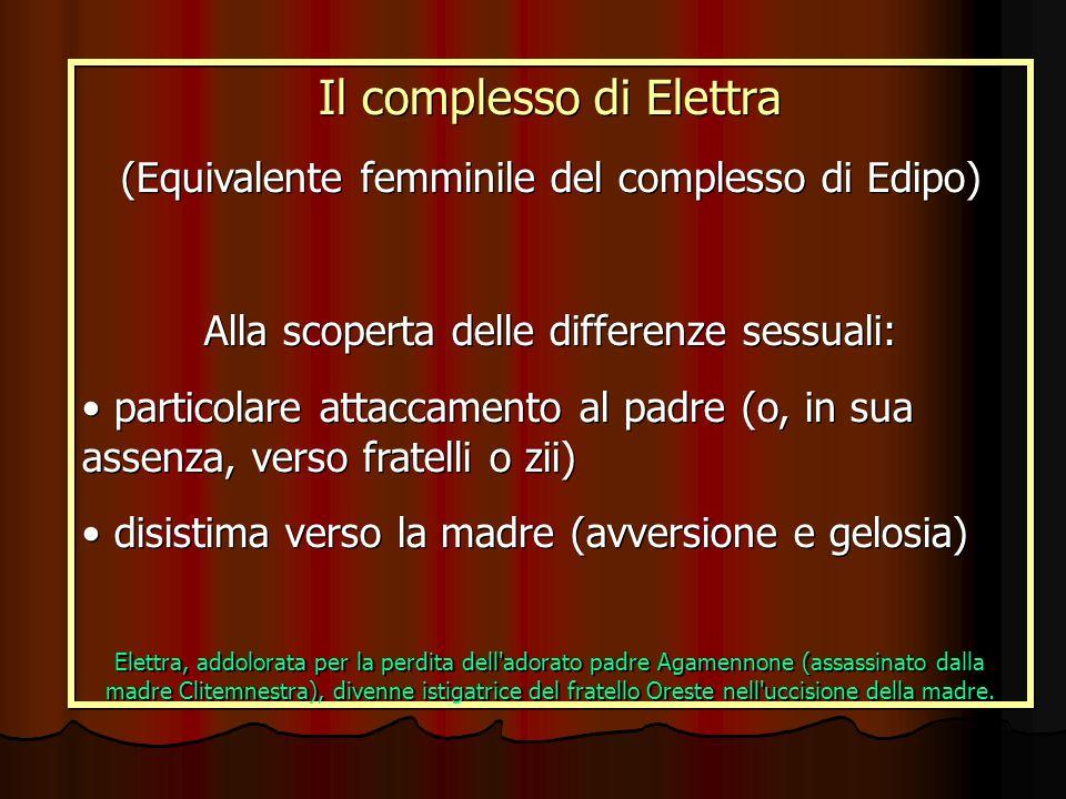 Il complesso di Elettra (Equivalente femminile del complesso di Edipo) Alla scoperta delle differenze sessuali: particolare attaccamento al padre (o,