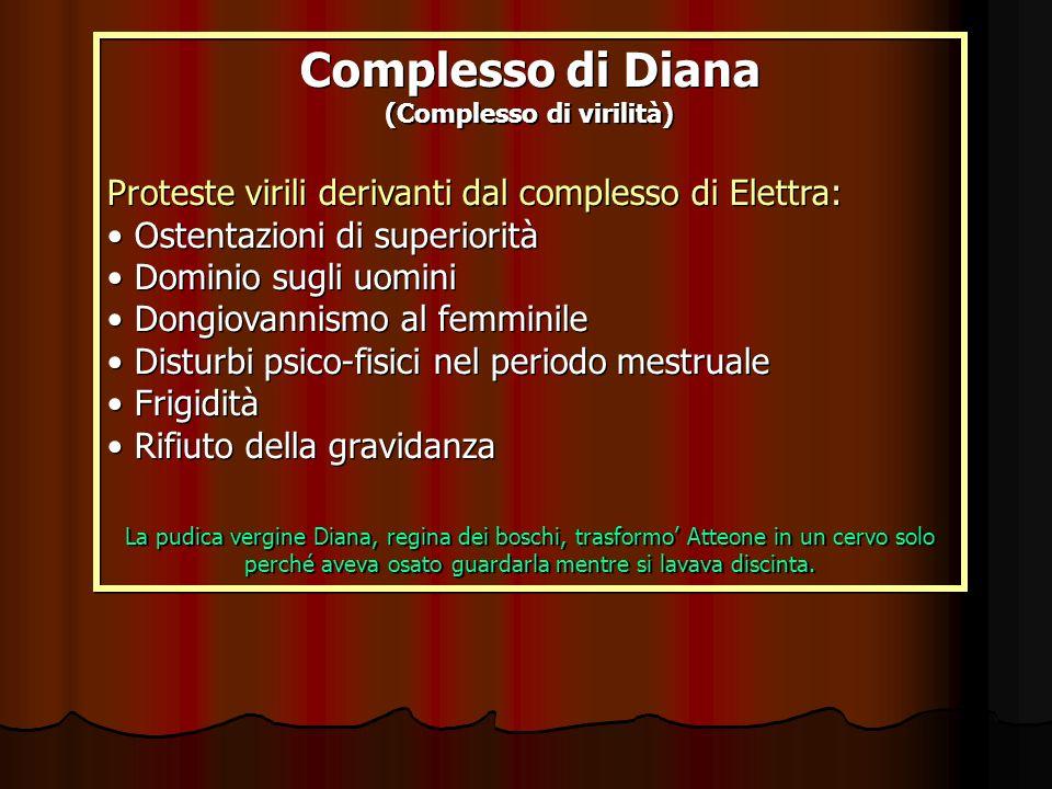 Complesso di Diana (Complesso di virilità) Proteste virili derivanti dal complesso di Elettra: Ostentazioni di superiorità Dominio sugli uomini Dongio