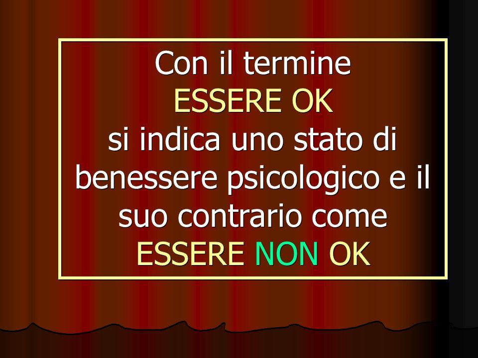 Con il termine ESSERE OK si indica uno stato di benessere psicologico e il suo contrario come ESSERE NON OK