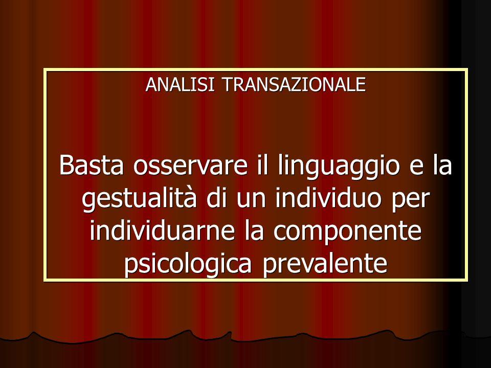 ANALISI TRANSAZIONALE Basta osservare il linguaggio e la gestualità di un individuo per individuarne la componente psicologica prevalente ANALISI TRAN