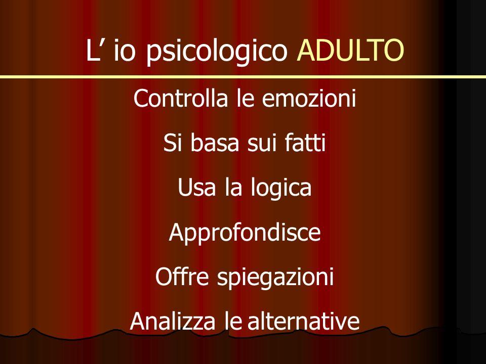 L io psicologico ADULTO Controlla le emozioni Si basa sui fatti Usa la logica Approfondisce Offre spiegazioni Analizza le alternative