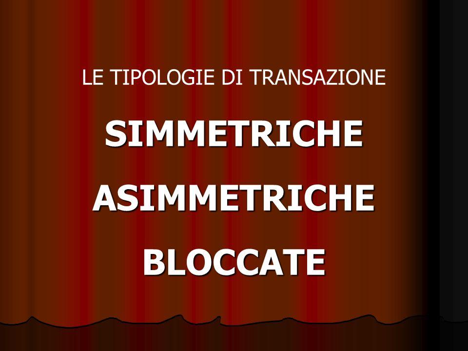 LE TIPOLOGIE DI TRANSAZIONESIMMETRICHEASIMMETRICHEBLOCCATE