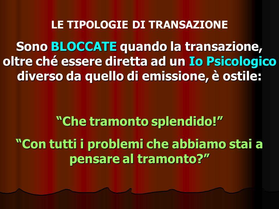 LE TIPOLOGIE DI TRANSAZIONE Sono BLOCCATE quando la transazione, oltre ché essere diretta ad un Io Psicologico diverso da quello di emissione, è ostil