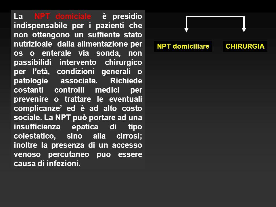 La NPT domiciale è presidio indispensabile per i pazienti che non ottengono un suffiente stato nutrizioale dalla alimentazione per os o enterale via s