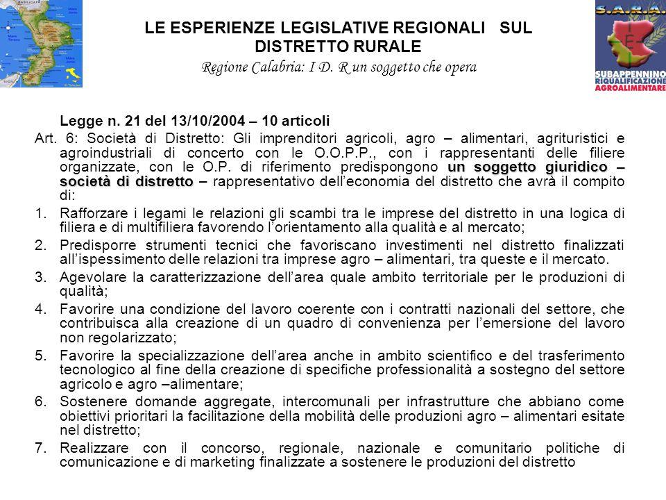 Legge n. 21 del 13/10/2004 – 10 articoli un soggetto giuridico – società di distretto Art.
