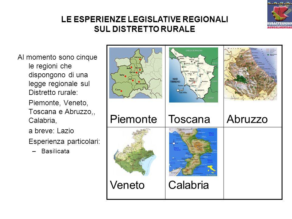 Al momento sono cinque le regioni che dispongono di una legge regionale sul Distretto rurale: Piemonte, Veneto, Toscana e Abruzzo,, Calabria, a breve: Lazio Esperienza particolari: –Basilicata LE ESPERIENZE LEGISLATIVE REGIONALI SUL DISTRETTO RURALE PiemonteToscanaAbruzzo VenetoCalabria