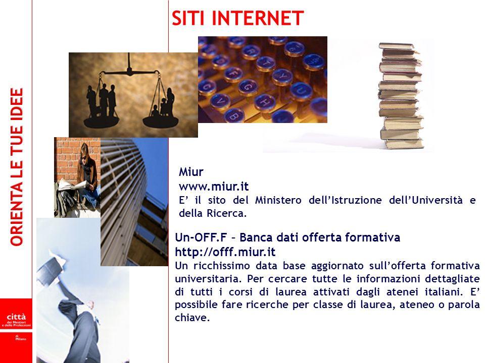 ORIENTA LE TUE IDEE Un-OFF.F – Banca dati offerta formativa http://offf.miur.it Un ricchissimo data base aggiornato sullofferta formativa universitari