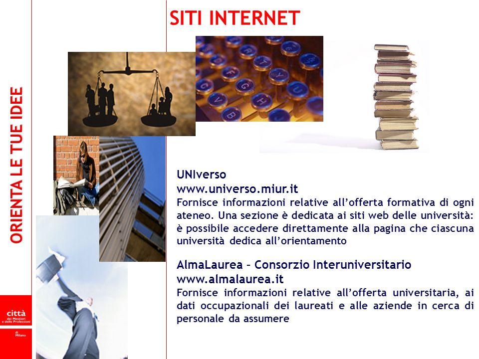 ORIENTA LE TUE IDEE UNIverso www.universo.miur.it Fornisce informazioni relative allofferta formativa di ogni ateneo. Una sezione è dedicata ai siti w