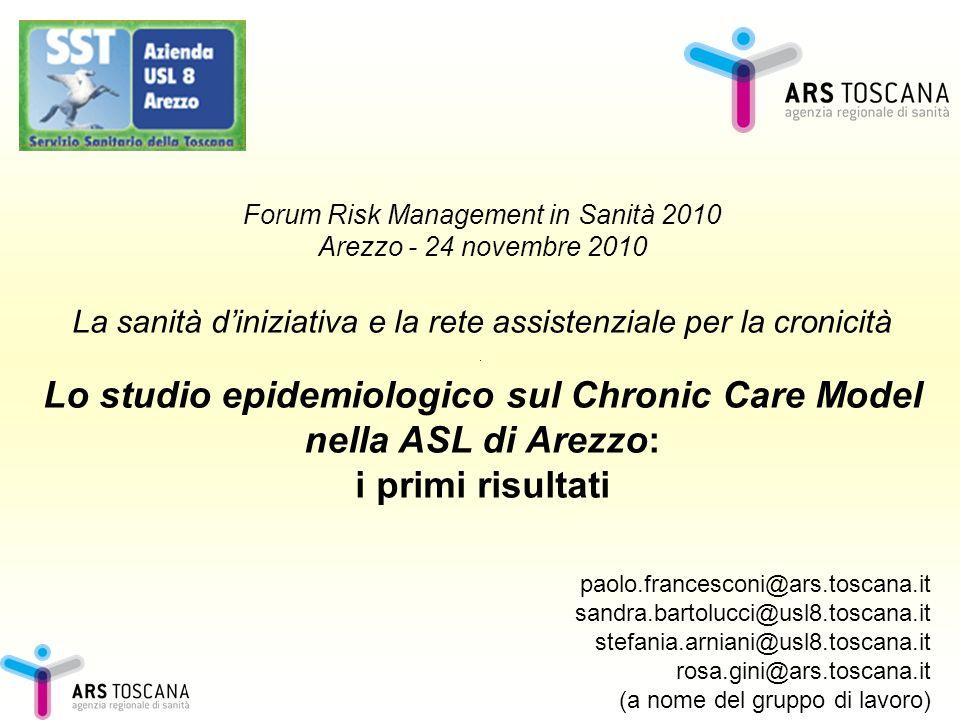 Forum Risk Management in Sanità 2010 Arezzo - 24 novembre 2010 La sanità diniziativa e la rete assistenziale per la cronicità Lo studio epidemiologico
