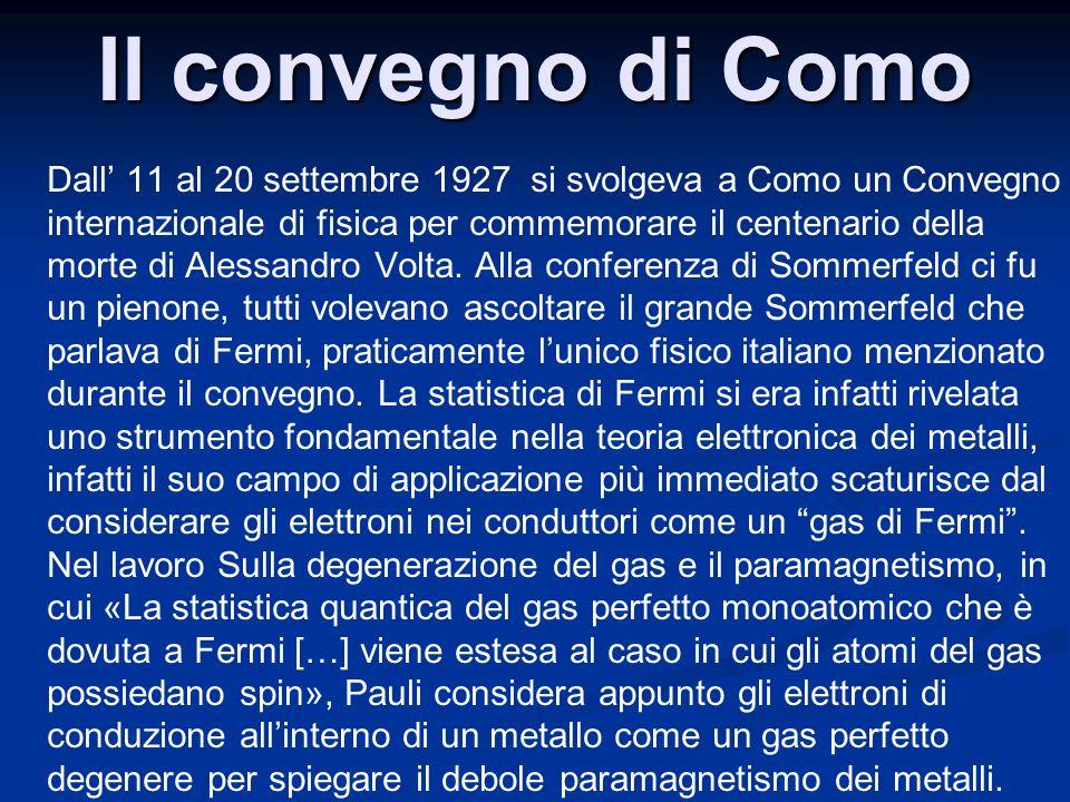 Il convegno di Como Dall 11 al 20 settembre 1927 si svolgeva a Como un Convegno internazionale di fisica per commemorare il centenario della morte di