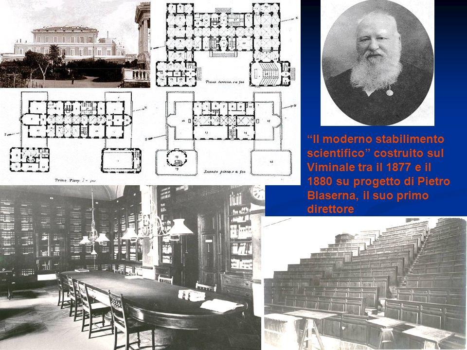 Il moderno stabilimento scientifico costruito sul Viminale tra il 1877 e il 1880 su progetto di Pietro Blaserna, il suo primo direttore