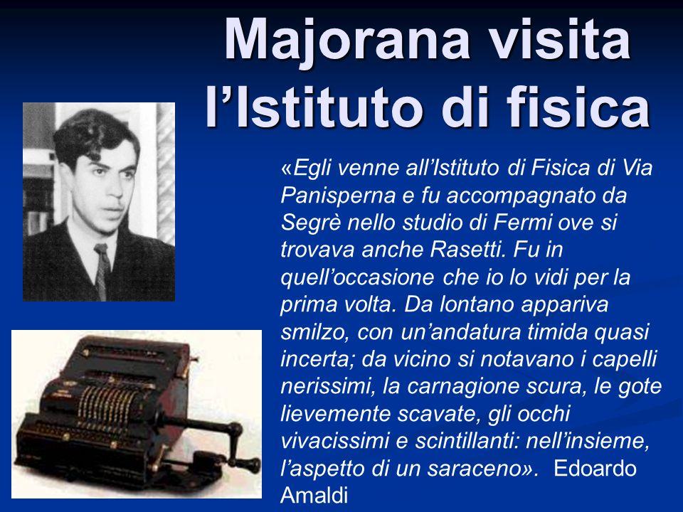 Majorana visita lIstituto di fisica «Egli venne allIstituto di Fisica di Via Panisperna e fu accompagnato da Segrè nello studio di Fermi ove si trovav